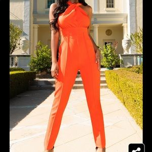 Other - Orange halter neck jumpsuit playsuit romper
